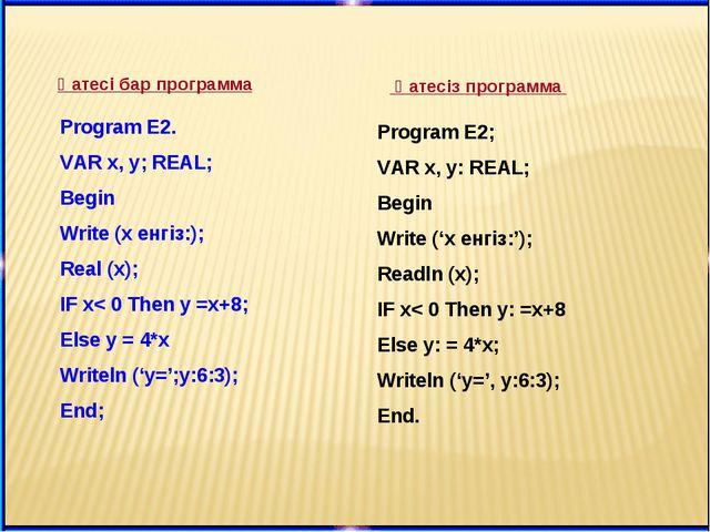 Program E2; VAR x, y: REAL; Begin Write ('х енгіз:'); Readln (x); IF x< 0 The...