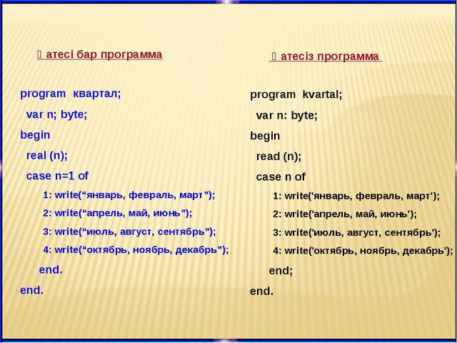 Қатесі бар программа Қатесіз программа program квартал; var n; byte; begin re...