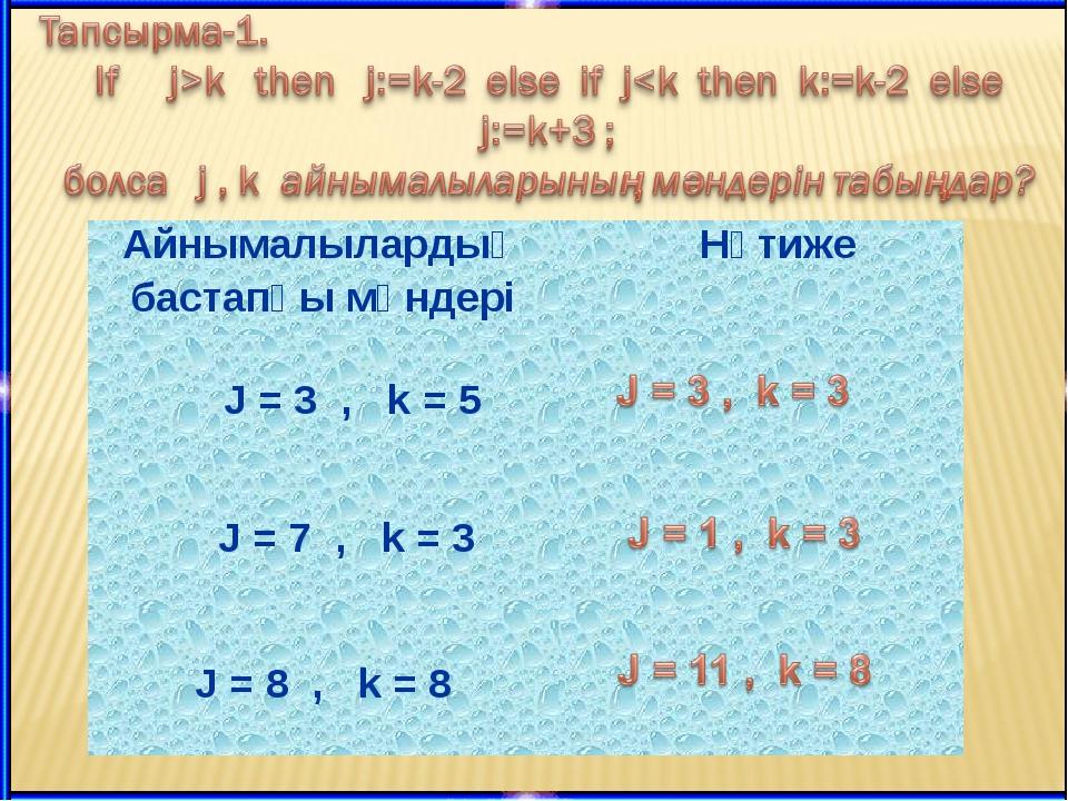 Айнымалылардың бастапқы мәндері Нәтиже J = 3 , k = 5 J = 7 ,  k = 3  J =...