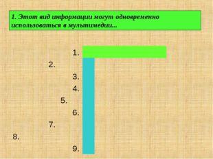 1. Этот вид информации могут одновременно использоваться в мультимедии...