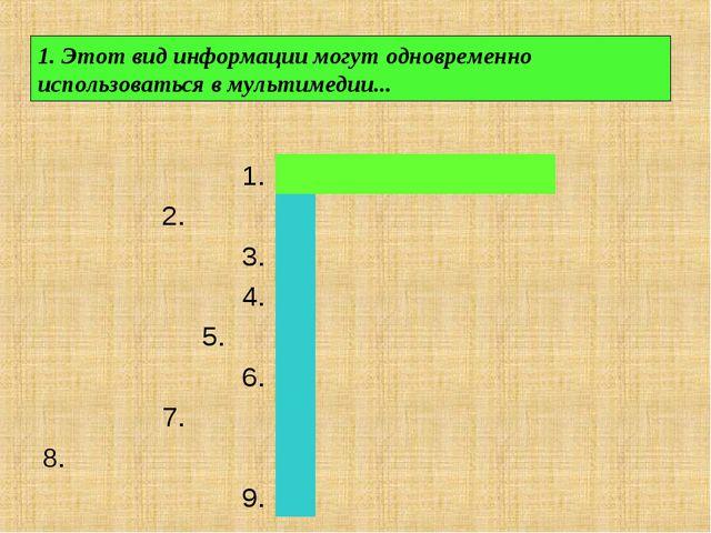 1. Этот вид информации могут одновременно использоваться в мультимедии......