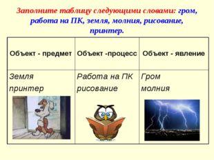 Заполните таблицу следующими словами: гром, работа на ПК, земля, молния, рисо