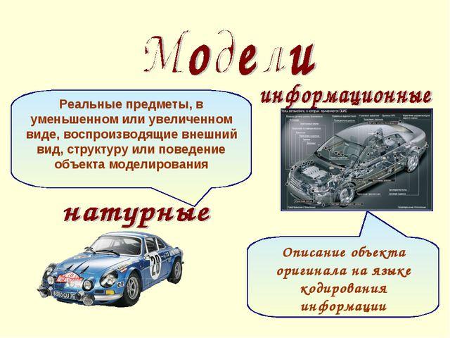 Описание объекта оригинала на языке кодирования информации Реальные предметы,...