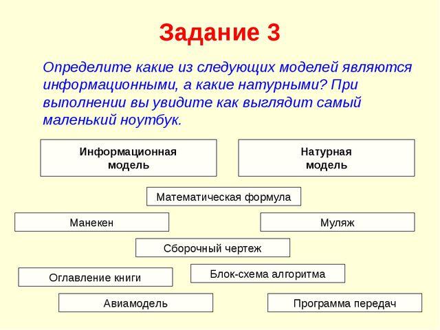 Задание 3 Определите какие из следующих моделей являются информационными, а к...