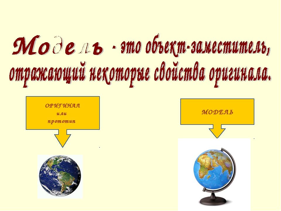 ОРИГИНАЛ или прототип МОДЕЛЬ