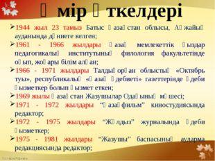Өмір өткелдері 1944 жыл 23 тамыз Батыс Қазақстан облысы, Ақжайық ауданында д