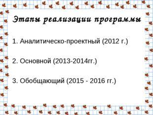 Этапы реализации программы 1. Аналитическо-проектный (2012 г.) 2. Основной (2