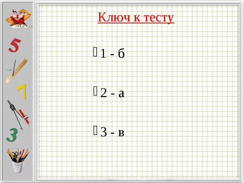 Ключ к тесту 1 - б 2 - а 3 - в