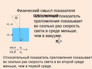 Физический смысл показателя преломления Абсолютный показатель преломления пок