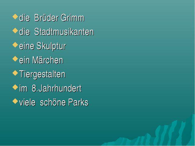 die Brüder Grimm die Stadtmusikanten eine Skulptur ein Märchen Tiergestalten...