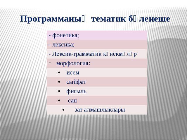 Программаның тематик бүленеше - фонетика; - лексика; -Лексик-грамматик күнекм...