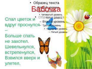 Бабочка Спал цветок и вдруг проснулся – Больше спать не захотел. Шевельнулся,