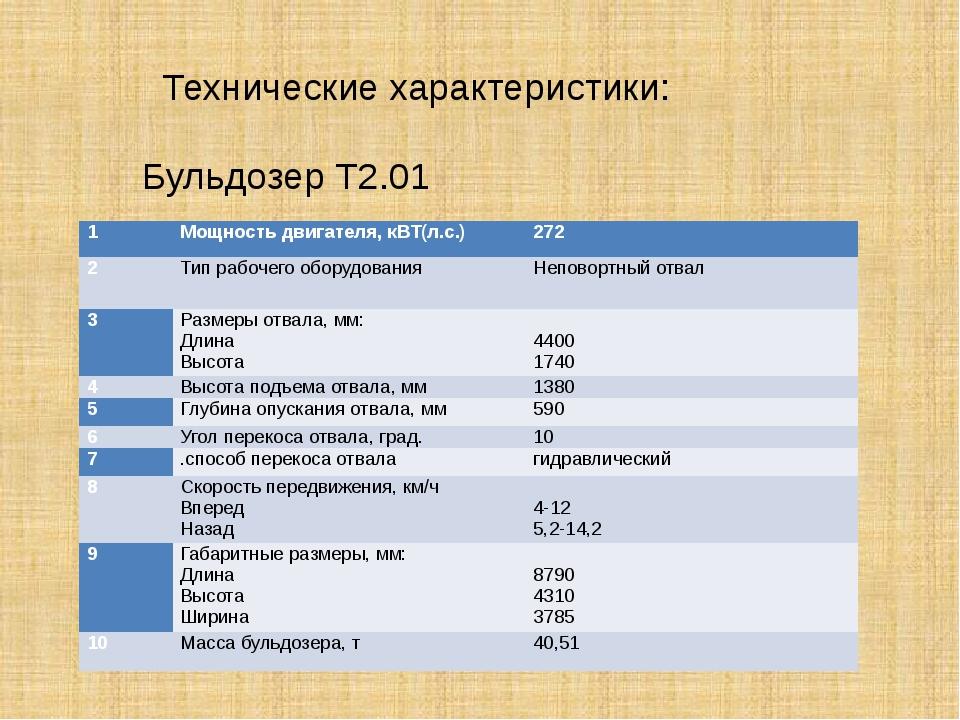 Технические характеристики: Бульдозер Т2.01 1 Мощность двигателя,кВТ(л.с.) 2...