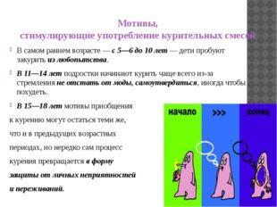 Мотивы, стимулирующие употребление курительных смесей В самом раннем возрасте