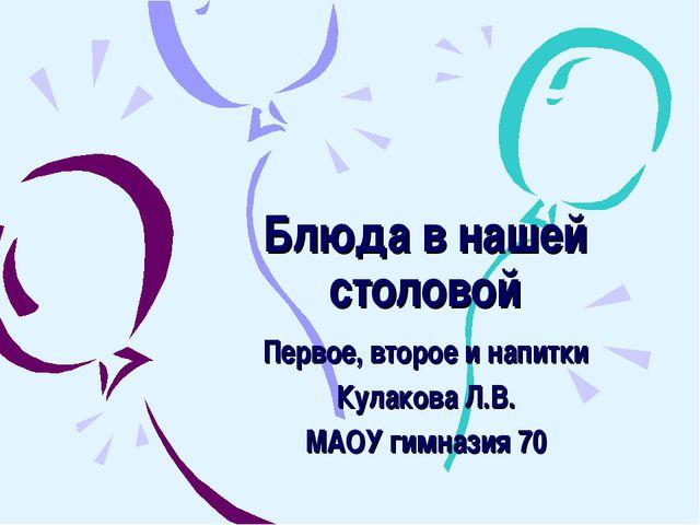Блюда в нашей столовой Первое, второе и напитки Кулакова Л.В. МАОУ гимназия 70