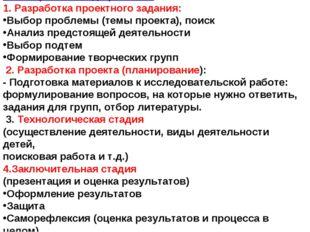 Этапы работы над проектом: 1. Разработка проектного задания: Выбор проблемы (