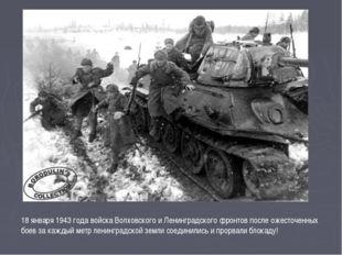18 января 1943 года войска Волховского и Ленинградского фронтов после ожесточ