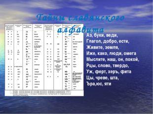 Аз, буки, веди, Глагол, добро, ести, Живите, земля, Иже, како, люди, омега Мы