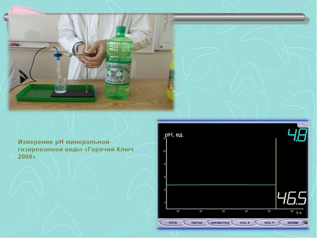 Измерение pH минеральной газированной воды «Горячий Ключ 2000».