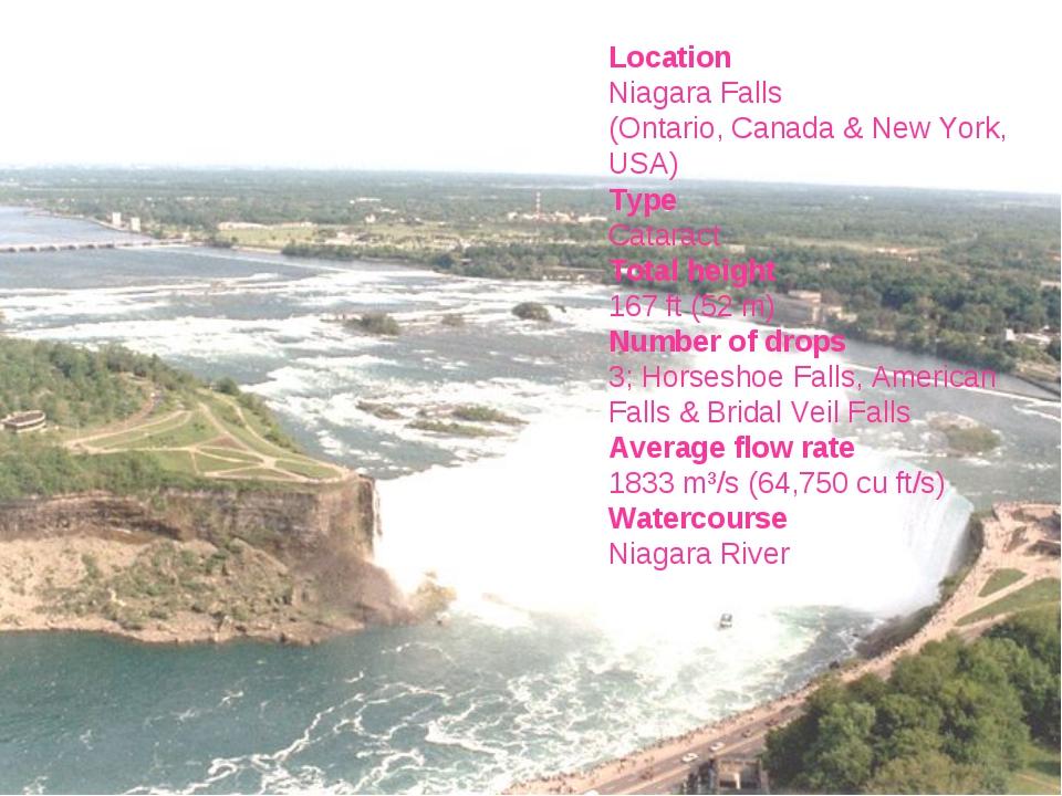 Location Niagara Falls (Ontario, Canada & New York, USA) Type Cataract Total...