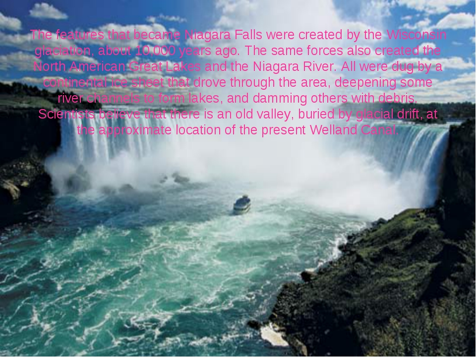 The features that became Niagara Falls were created by the Wisconsin glaciati...