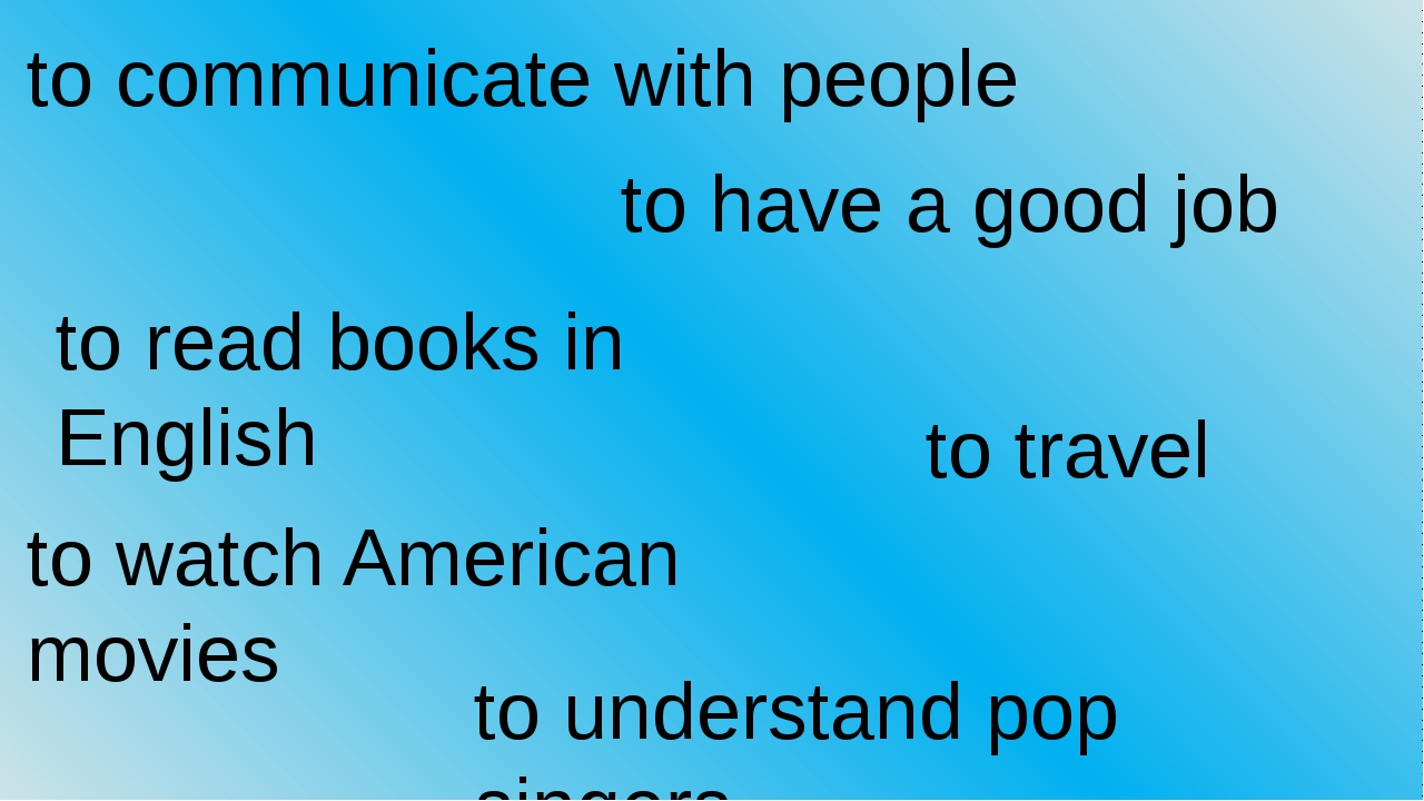to communicate with people to have a good job to read books in English to tra...