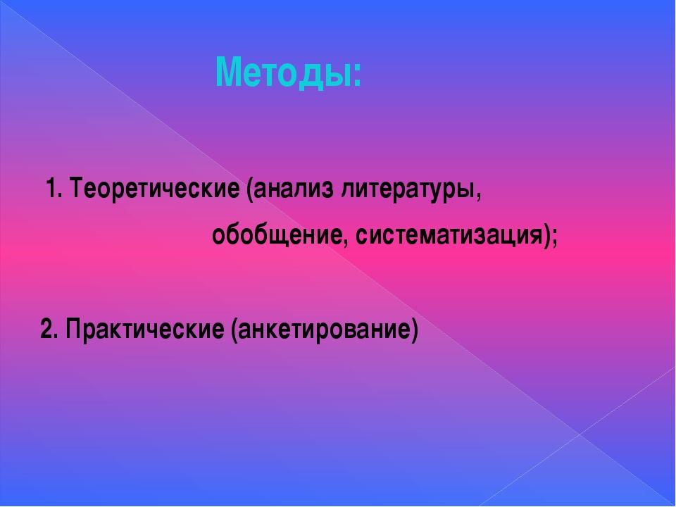 Методы: 1. Теоретические (анализ литературы, обобщение, систематизация); 2. П...