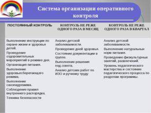 Система организации оперативного контроля ПОСТОЯННЫЙ КОНТРОЛЬКОНТРОЛЬ НЕ РЕЖ