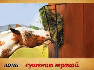 конь – сушеною травой.