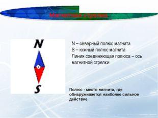 Магнитная стрелка N – северный полюс магнита S – южный полюс магнита Линия со