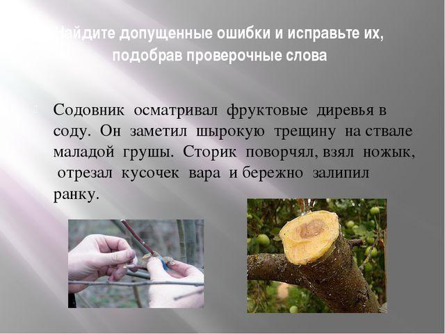 Найдите допущенные ошибки и исправьте их, подобрав проверочные слова Содовник...