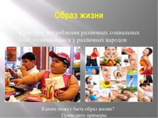 Образ жизни Культура потребления различных социальных благ, отличающаяся у ра