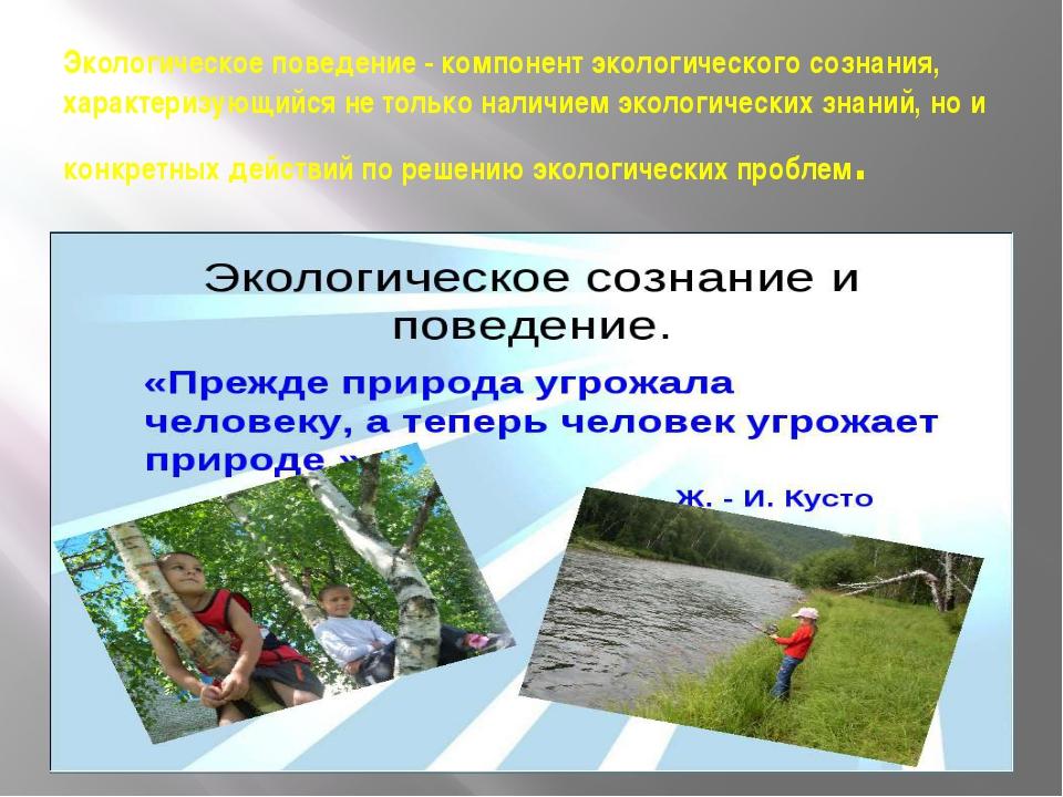 Экологическое поведение - компонент экологического сознания, характеризующийс...