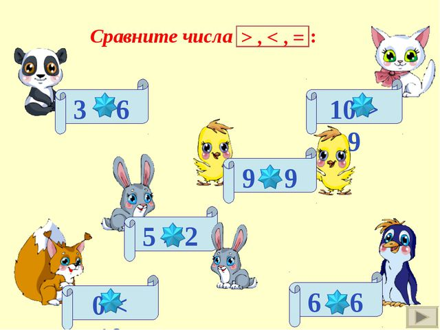 3 < 6 5 > 2 0 < 10 6 = 6 10 > 9 9 = 9