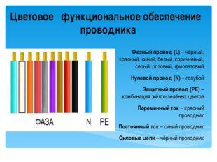 Цветовое функциональное обеспечение проводника Фазный провод (L) – чёрный, кр