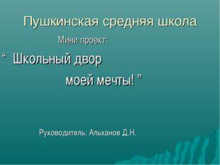 """Пушкинская средняя школа Мини проект: """" Школьный двор моей мечты! """" Руководит"""