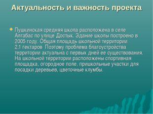 Актуальность и важность проекта Пушкинская средняя школа расположена в селе А