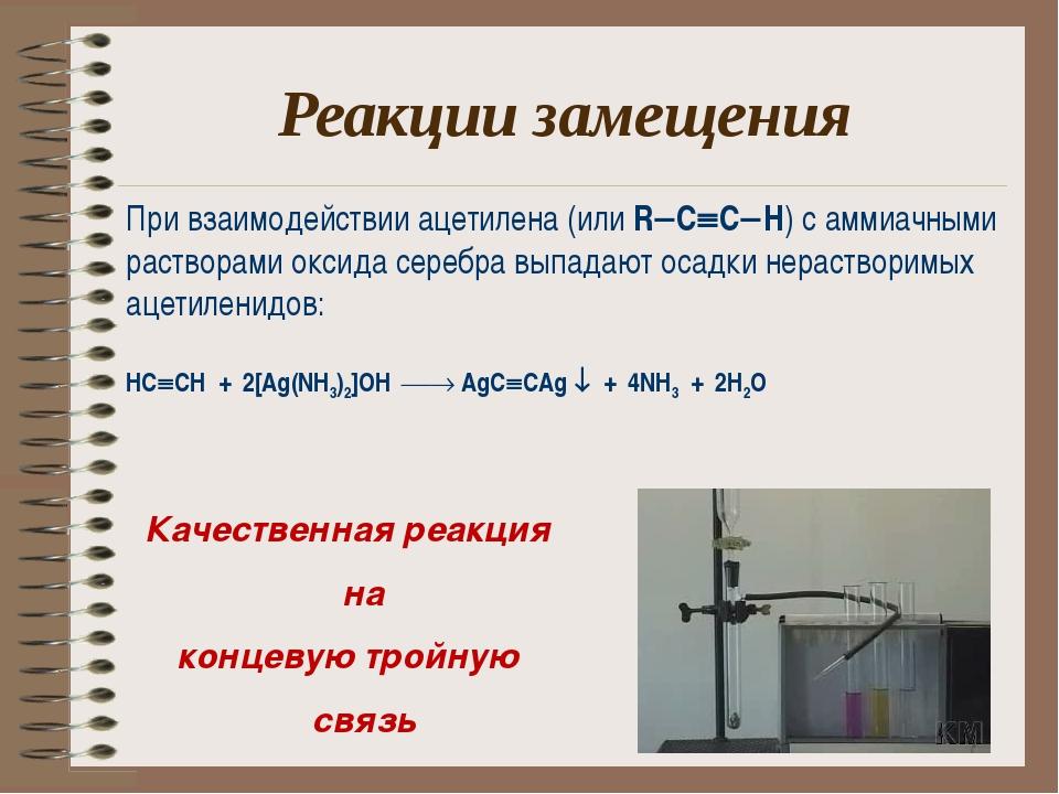 Реакции замещения При взаимодействии ацетилена (или RCCH) с аммиачными рас...