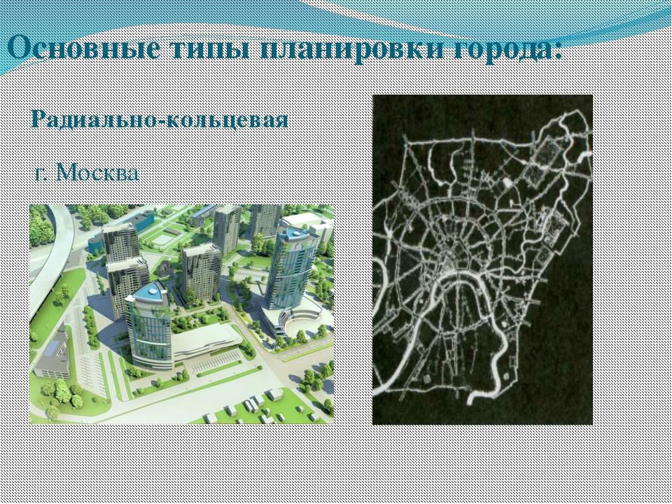 г. Москва Основные типы планировки города: Радиально-кольцевая