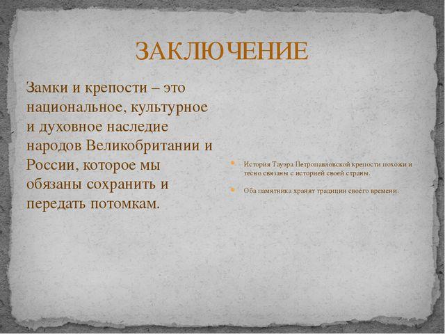 ЗАКЛЮЧЕНИЕ Замки и крепости – это национальное, культурное и духовное наследи...