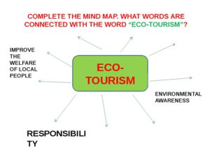 """ECO-TOURISM COMPLETE THE MIND MAP. WHAT WORDS ARE CONNECTED WITH THE WORD """"EC"""