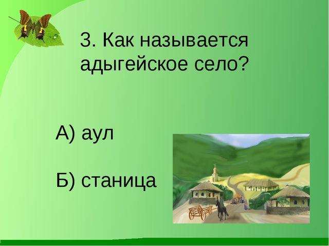 Б) станица 3. Как называется адыгейское село? А) аул