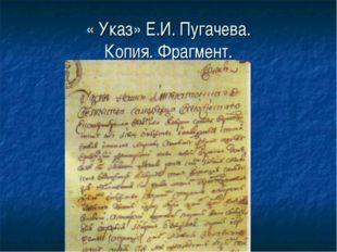 « Указ» Е.И. Пугачева. Копия. Фрагмент.
