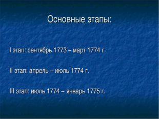 Основные этапы: I этап: сентябрь 1773 – март 1774 г. II этап: апрель – июль 1
