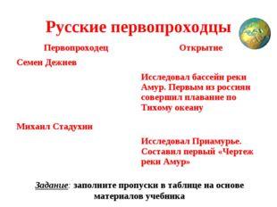 Русские первопроходцы Задание: заполните пропуски в таблице на основе материа