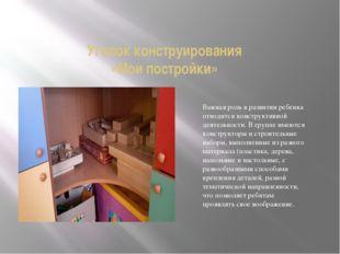 Уголок конструирования «Мои постройки» Важная роль в развитии ребенка отводит