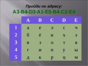 Пройди по адресу: A3-B4-D3-A1-E5-B4-C2-E4