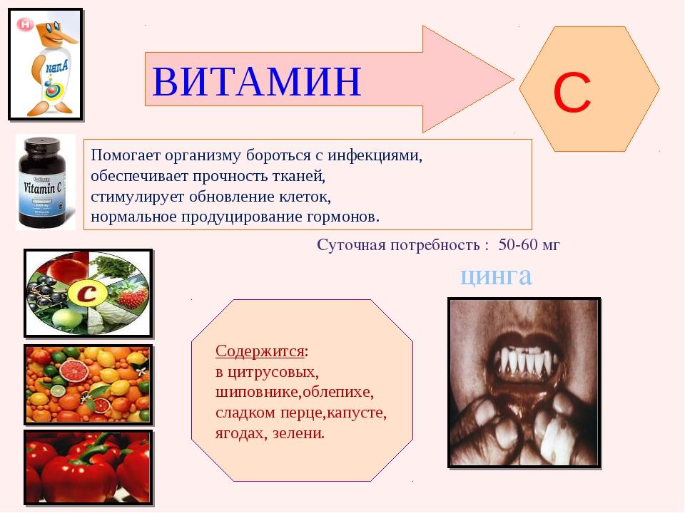 ВИТАМИН C Помогает организму бороться с инфекциями, обеспечивает прочность тк...