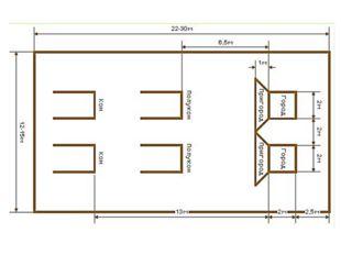 Размеры площадки («город») — 2х2 м; расстояние от места бросков: дальнее («ко
