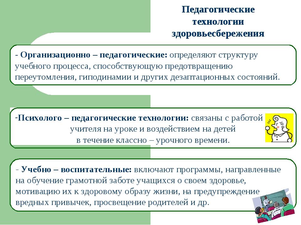 Педагогические технологии здоровьесбережения - Организационно – педагогически...